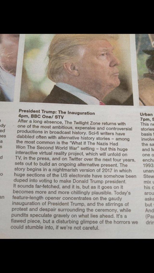 Scottish sunday herald tv guide description of the inauguration.